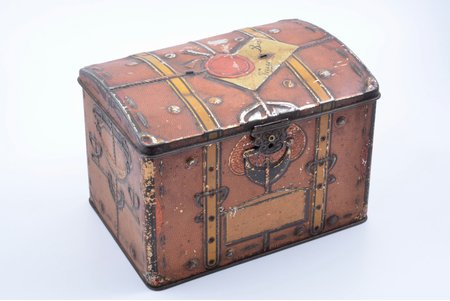 "candy box, ""Bon-Voyage"", b. G.A. Khaimovich Joint Stock Company of Tin Products in St. Petersburg, metal, Russia, 17 x 24.4 x 17.1 cm"