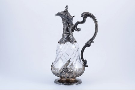 jug, silver, 950, 91 ПТ standart, gilding, glass, France, h 26.7 cm, micro chip on the glass
