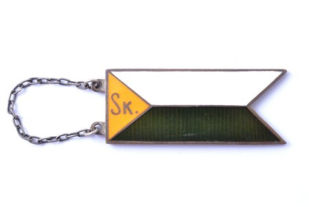 badge, cavalry pennant flag, Sk (Team of communications), Latvia, the 30ies of 20th cent., 40.1 x 15.5 mm