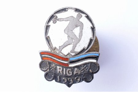 знак, Латвийско-эстонские соревнования по метанию диска, Рига, серебро, 875 проба, Латвия, Эстония, 1939 г., 24.2 x 18.2 мм, 3.50 г