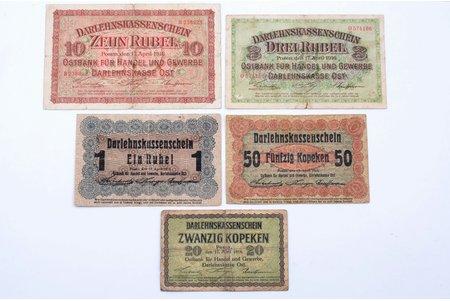 комплект банкнот: 50 копеек, 1 рубль, 3 рубля, 10 рублей, 20 копеек, немецкая оккупация, 1916 г., VF