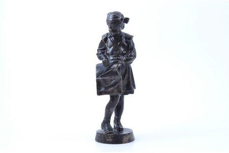 figurine, Pioneer girl with briefcase (Schoolgirl), cast iron, h 20 cm, weight 895.30 g., USSR, Kasli, 1964