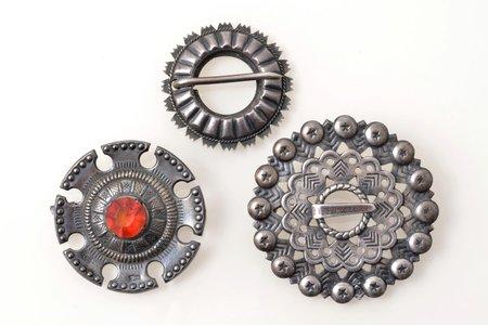 set of 3 saktas, silver, the item's dimensions Ø 4.7 / 3.8 / 3.4 cm, the 50ies of 20th cent., USSR, Latvia, Estonia, 2 saktas with 875 standart hallmark