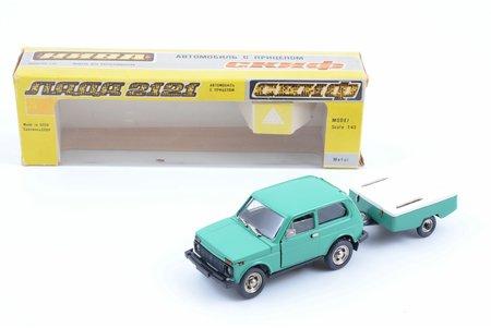 """car model, VAZ 2121, metal, USSR, 1989, with """"SKIF"""" trailer"""
