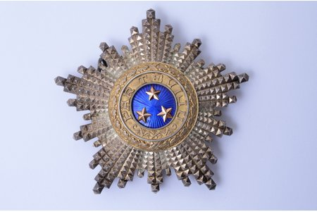 """star of the Order of Three Stars (3rd type), silver, 875 standart, Latvia, 20-30ies of 20th cent., 74.5 x 77.9 mm, """"Vilhelms Fridrichs Müller"""" manufactory"""