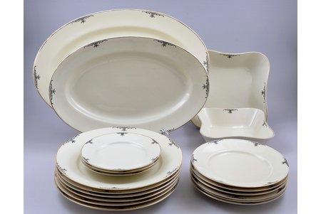 set of plates, 19 items, porcelain, J.K. Jessen manufactory, Riga (Latvia), 1936-1939, third grade, 6 pcs. round plates Ø 24.7 cm, 6 pcs. round plates Ø 19.3 cm, 3 pcs. round plates Ø 15.5 cm, 1 oval plate 40.5 x 27 cm, 1 oval plate 35.1 x 23.6 cm, 1 square-shaped plate 19.8 x 19.8 cm (chip at the base), 1 square-shaped plate 17 x 17 cm
