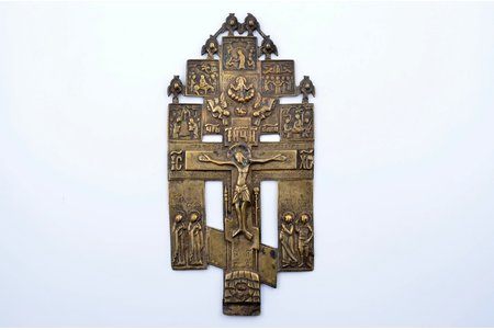 cross, The Crucifixion of Christ, copper alloy, Russia, the 19th cent., 25.8 x 12.4 x 0.3 cm, 414.95 g.