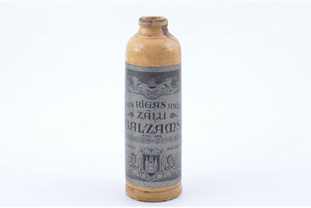 "bottle, Riga black balsam, joint-stock company ""Ch. Jürgenson - Otto Scwarz"", Latvia, the 30ties of 20th cent., h 15 cm"