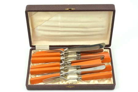 flatware set, 6 knives + 6 forks, Wilh. Wagner Solingen-Merscheid, bakelite handles, 20.7 / 18.6 cm