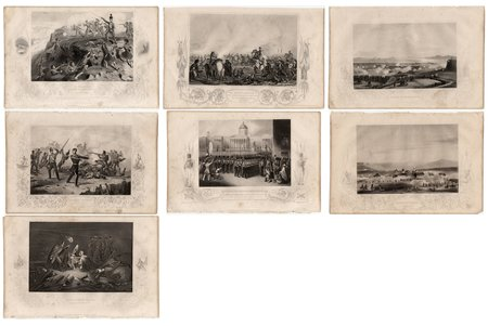 "set of 7 engravings on metal, ""Crimean War"", London, Russia, Great Britain, 1858, 18 x 27.3 cm, publisher: ""The London Printing and Publishing Company"""