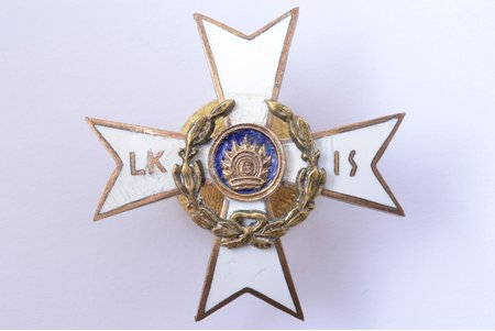badge, Latvian war invalids' alliance (LKIS), Latvia, 20-30ies of 20th cent., 39.8 x 40.3 mm, enamel restoration