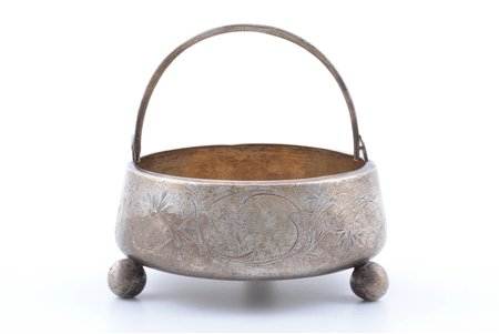 candy-bowl, silver, 84 standart, engraving, 1908-1917, 197.90 g, Moscow, Russia, Ø 12.6 cm, h (with handle) 12.2 cm