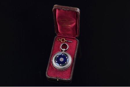 "pocket watch, ""Vacheron"", Switzerland, silver, enamel, 84 standart, 71.90 g, 5.45 x 4.55 cm, 45.5 mm, in NOT original leather case (Vacheron Constantin), with key"