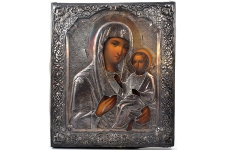 icon, the Iveron Mother of God, board, silver, painting, 84 standart, Russia, 1864, 31.4 x 26.8 x 3 cm, without wreath, oklad weight 246.35 g