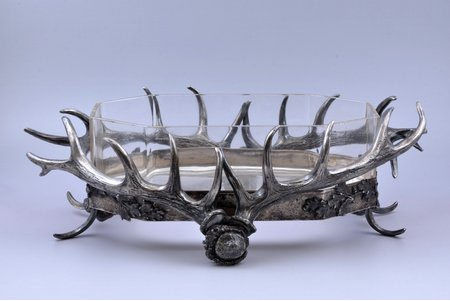 roast dish, hunting theme, silver plated, glass, 13 x 43.5 x 27 cm