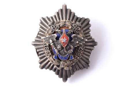 badge, Kiev War School Graduation (crown missing), silver, enamel, Russia, 48.2 x 40.8 mm