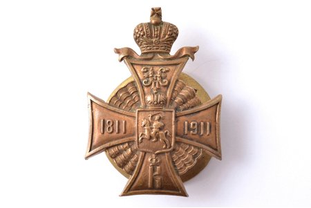 "badge, 52nd Vilna Infantry regiment, for lower ranks, bronze, guilding, Russia, 46.1 x 33.4 mm, ""Эдуардъ"", screw is slightly shortened"