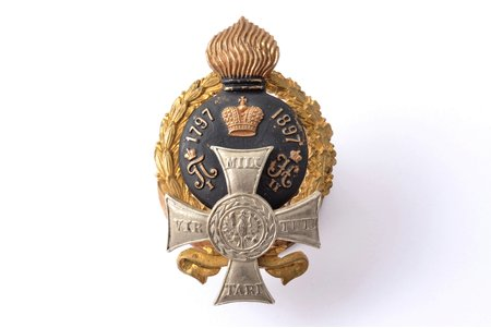 badge, the 7th Samogitsky Grenadier Regiment of the General-Adjutant Count Totleben, bronze, white metal, Russia, 53.5x33.5 mm