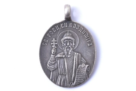 pendant icon, Saint Vladimir (84.hallmark is not genuine), silver, the 90ies of 20th cent., 3.86 x 2.65 cm, 9.80 g.