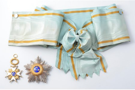 """set of the Order of Three Stars, exceptional condition, 1st class, Latvia, 20-30ies of 20th cent., """"Vilhelms Fridrichs Müller"""" manufactory"""