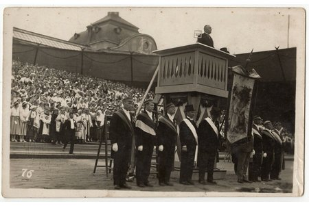 photography, President A. Kviesis opens the Song Festival to commemorate the 60th anniversary of the Latvian Song Festival, Riga, Latvia, 1933, 8.8 x 14 cm
