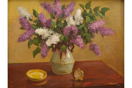"""Prēdelis Uldis (1920-1994), """"Lilac"""", 1977, canvas, oil, 53 x 69 cm"""