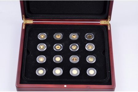 a set, 16 coins, gold, 1-1.244 g, Proof, 999 standard