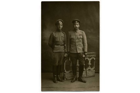 photography, portrait of officers, Russia, beginning of 20th cent., 13,6x8,8 cm