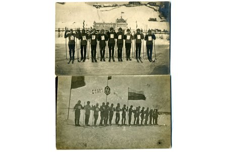 photography, 2 pcs, skiers, Russia, beginning of 20th cent., 13,8x8,8 cm