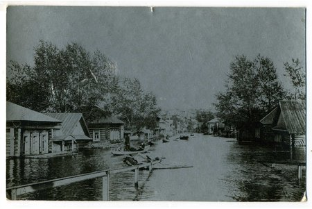 photography, flood, Russia, beginning of 20th cent., 13,8x8,8 cm