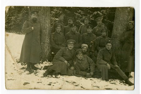 photography, group of officers, Russia, beginning of 20th cent., 13,6x8,6 cm