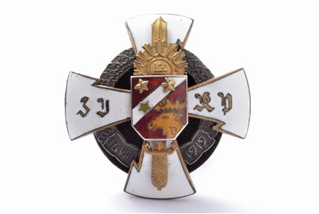 badge, 3rd Jelgava Infantry Regiment, Latvia, 20-30ies of 20th cent., 46.4 x 46.4 mm, small enamel chip on the surface of red enamel