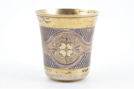 goblet, silver, 84 standart, niello enamel, gilding, 1871, 64.40 g, by Ivan Sveshnikov, Moscow, Russia, h 6.5 cm