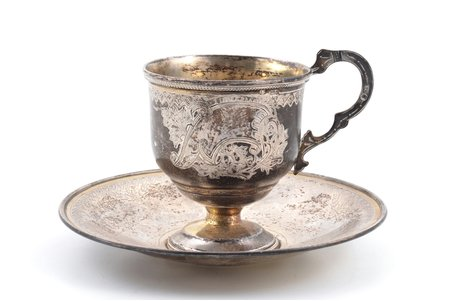 coffee pair, silver, 84 standart, engraving, 1894, total weight of items 175.55g, Vasily Efimovich Baladanov's factory, Moscow, Russia, h (cup with handle) 8 cm, Ø (saucer) 13.2 cm