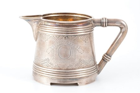 cream jug, silver, 84 standart, engraving, gilding, 1878, 190.25 g, Moscow, Russia, h 7.3 cm