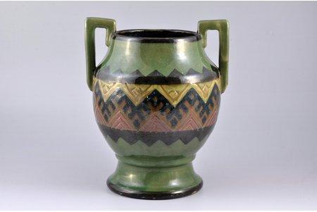 "vase, ceramics, ""Latvian ceramics"" workshop, Riga (Latvia), the 20-30ties of 20th cent., h 22.4 cm, chips of glazing"
