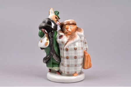 statuete, Lapsa un bebrs, porcelāns, PSRS, LFZ - Lomonosova porcelāna rūpnīca, modeļa autors - B.J. Vorobjovs, 20 gs. 50tie gadi, 12.3 cm, augstākā šķira