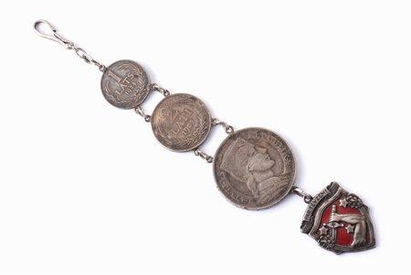 pulksteņa ķēde, izgatavots no latu monētām un Latvijas atbrīvošanas kara piemiņas (1918-1920) medaļas, Latvija, 20.gs. 20-30ie gadi, kopējais garums 18.2 cm