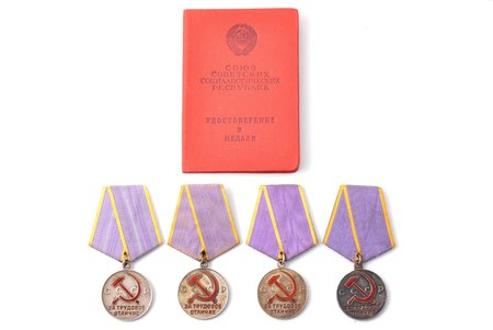 set, 3 medals and certificate, For Excellence in Labor, USSR