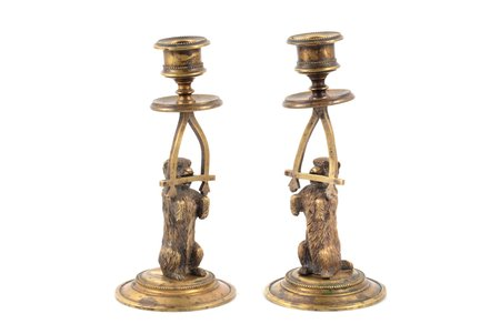 "pair of candle-holders, ""Dogs"", bronze, h 16.8 cm, weight total weight of items 810.35 g., Russia"