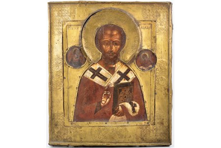 icon, Saint Nicholas the Miracle-Worker, board, painting, brass, Russia, 30.8 x 26.6 x 2.8 cm