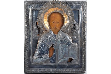 icon, Saint Nicholas the Miracle-Worker, board, silver, painting, guilding, 84 standart, Russia, 1808, 30.4 x 26 x 3.2 cm, oklad weight 527.50 g