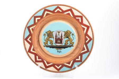 dekoratīvs šķīvis, ar Rīgas ģerboni, koks, Latvija, Ø 28.5 cm