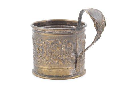 glāzes turētājs, Schiffers & Co, Warszawa, Krievijas impērija, Polijas Karaliste, 19. un 20. gadsimtu robeža, Ø (iekšpuse) 6.8 cm, h (ar rokturi) 9.1 cm