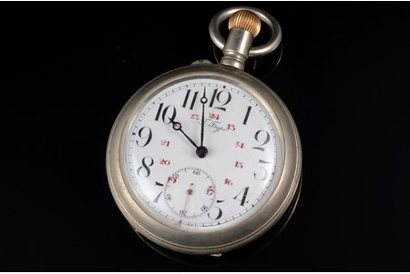 """pocket watch, """"Павелъ Буре (Pavel Buhre)"""", Russia, metal, 139.55 g, 7.6 x 5.75 cm, 57.5 mm, spring replacement required"""