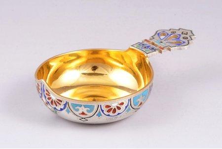 kovsh, silver, 88 standart, enamel, engraving, gilding, 1880-1890, 66.15 g, Russia, 9.7 x 6 x 2.2 cm