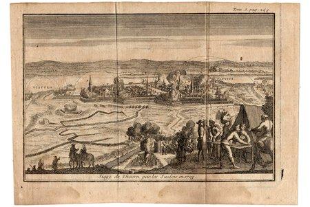 Siege de Thoorn par les Suedois en 1703 - Siege of Torun (Poland) by the Swedes in 1703, paper, engraving, 12.9 x 19.2 cm