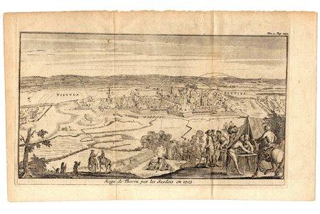 Siege de Thoorn par les Suedois en 1703 - Siege of Torun (Poland) by the Swedes in 1703, paper, engraving, 12.2 x 22.8 cm