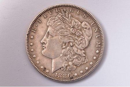 1 dolārs, 1886 g., sudrabs, ASV, 26.72 g, Ø 38 mm, XF