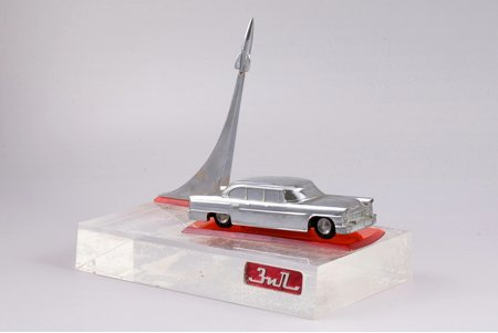 commemorative souvenir, ZiL, in honor of the 50th anniversary of the October Revolution, metal, plexiglass, USSR, 1967, base 20 x 10 cm, height 16.2 cm